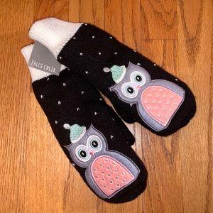 Women's black mittens with owl design